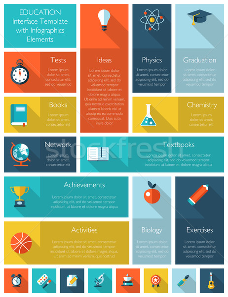 Education interface template with infographics elements Stock photo © Decorwithme