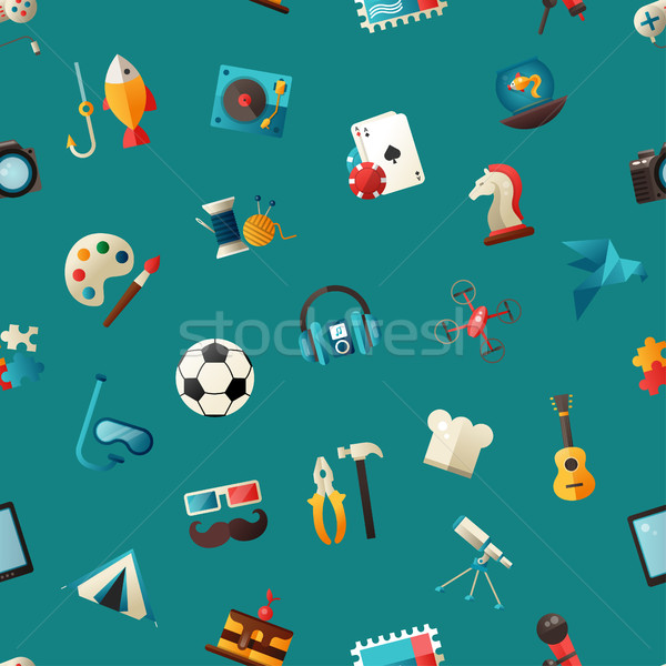 Pattern of modern flat design hobby icons and infographics eleme Stock photo © Decorwithme