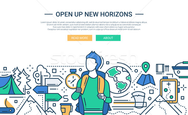 Stock photo: Open Up New Horizons - line design website banner