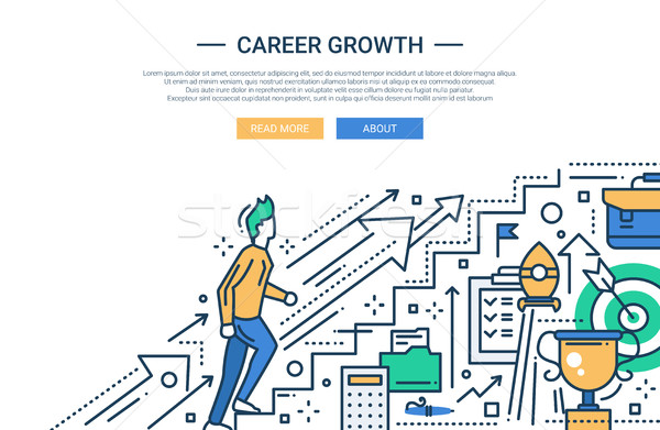 Career Growth line flat design website banner  Stock photo © Decorwithme