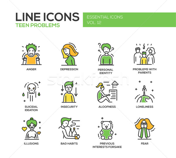 Teen problems- line design icons set Stock photo © Decorwithme