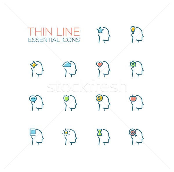 Thoughts in Heads - Thin Single Line Icons Set Stock photo © Decorwithme