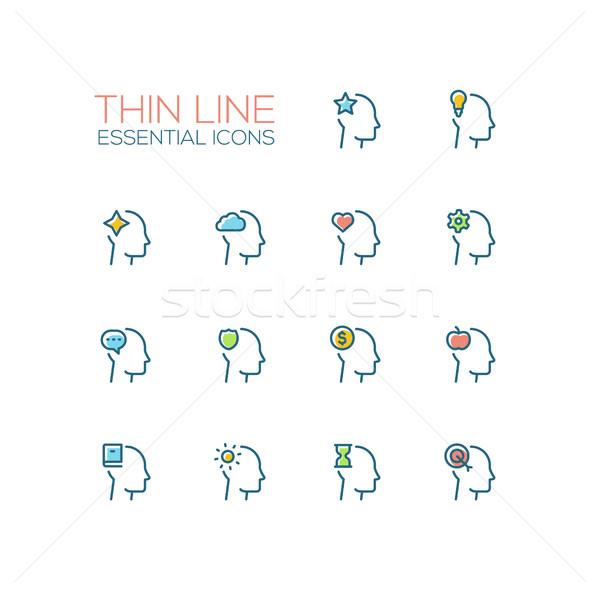 Gedachten dun lijn borden moderne Stockfoto © Decorwithme