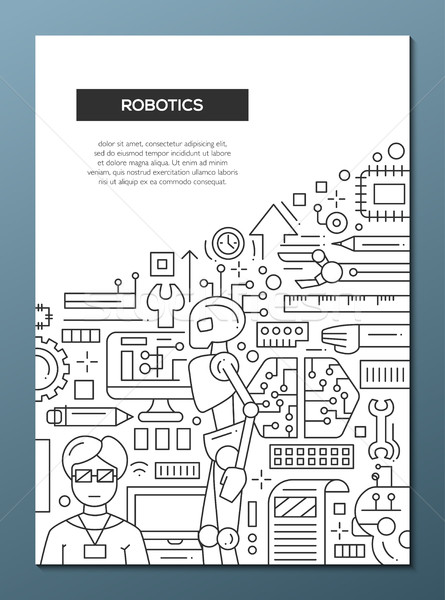 Robotics - line design brochure poster template A4 Stock photo © Decorwithme
