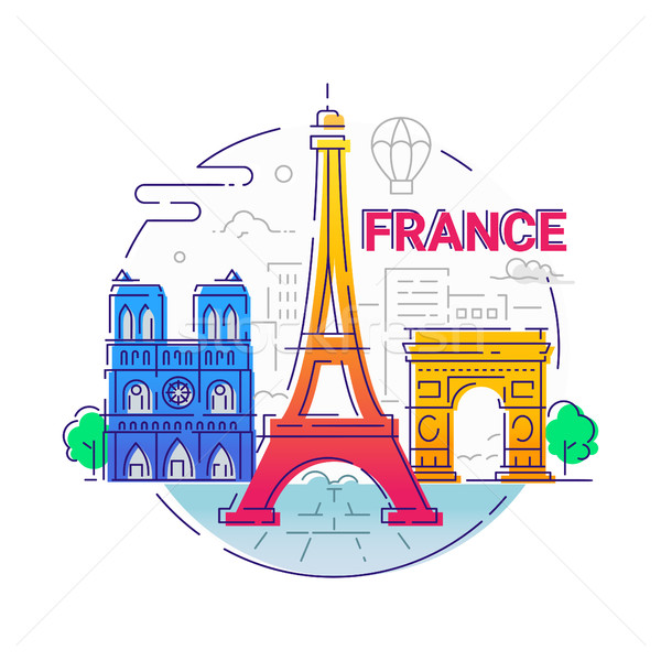 France - modern vector line travel illustration Stock photo © Decorwithme