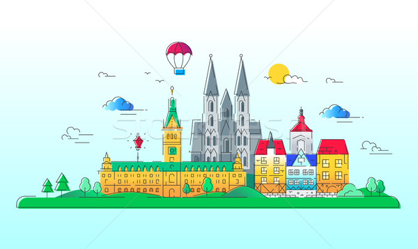 Európai országok vektor vonal utazás illusztráció Stock fotó © Decorwithme
