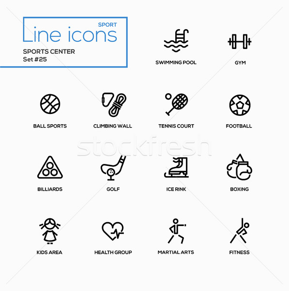 Sports center - modern vector single line icons set Stock photo © Decorwithme