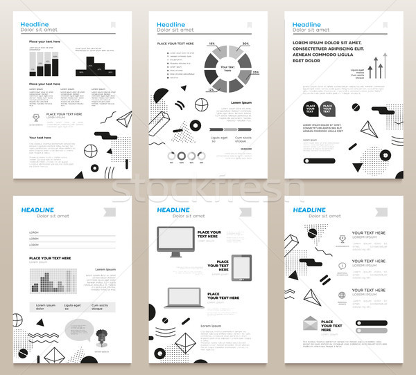 Presentation booklets - bw vector template a4 pages set Stock photo © Decorwithme
