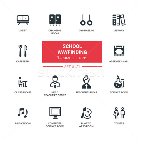 School wayfinding - modern simple icons, pictograms set Stock photo © Decorwithme