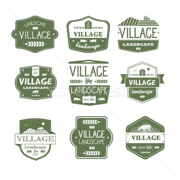 Village Life - vintage vector set of logos Stock photo © Decorwithme