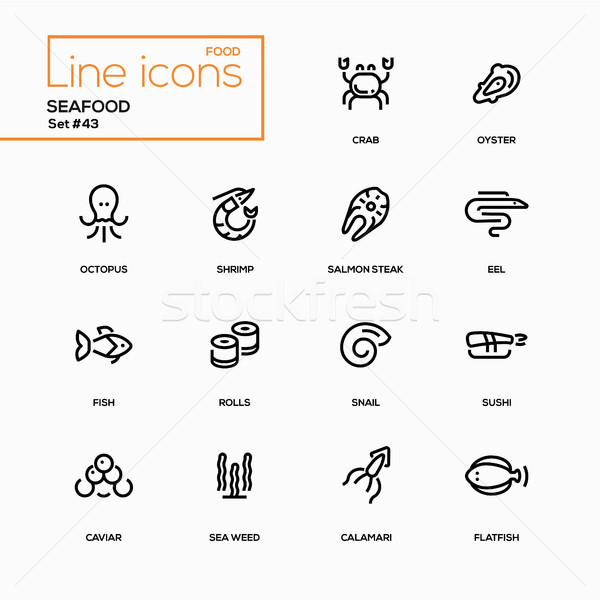 Seafood concept - line design icons set Stock photo © Decorwithme