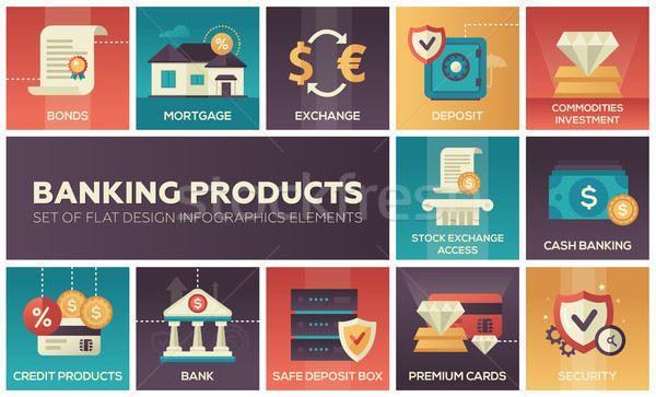 Banking products - set of flat design infographics elements Stock photo © Decorwithme
