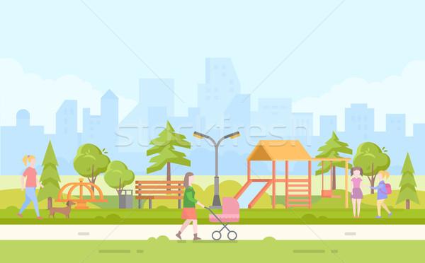 City children playground - modern cartoon vector illustration Stock photo © Decorwithme