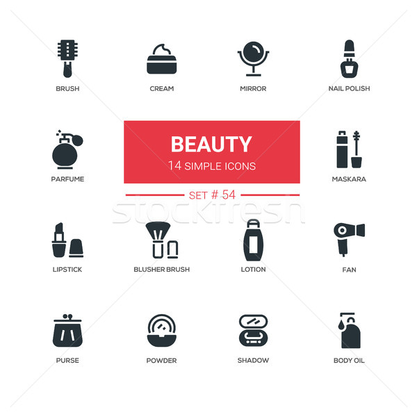 Fashion concept, beauty - line design icons set Stock photo © Decorwithme