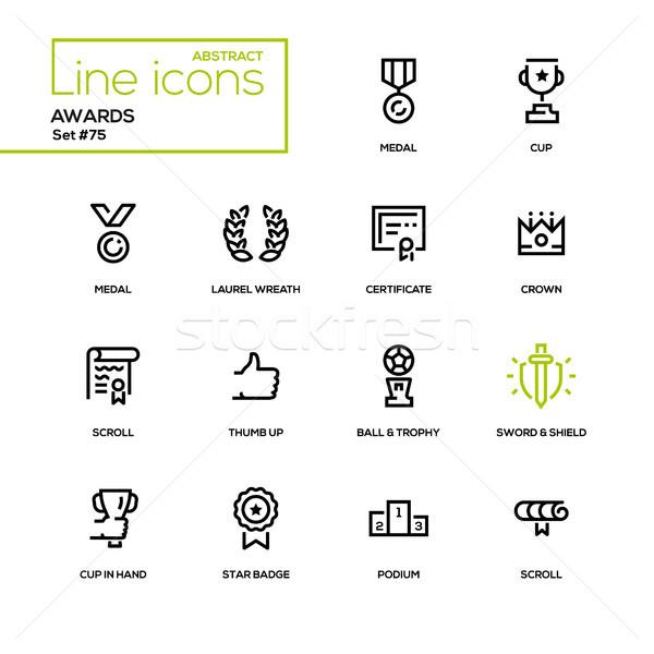 Awards - line design icons set Stock photo © Decorwithme