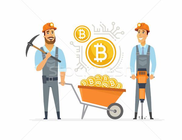 Bitcoin rajzolt emberek karakter izolált illusztráció fehér Stock fotó © Decorwithme