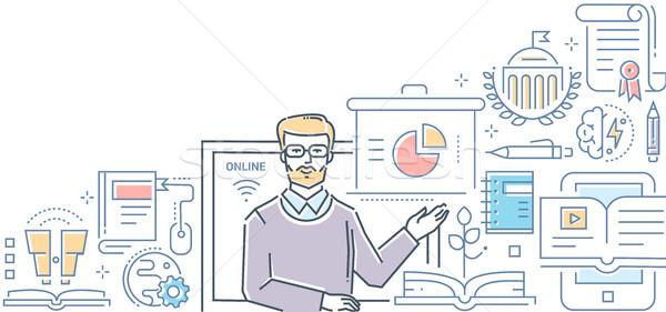 On-line educação colorido linha projeto estilo Foto stock © Decorwithme