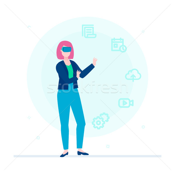 Woman in VR glasses - flat design style colorful illustration Stock photo © Decorwithme