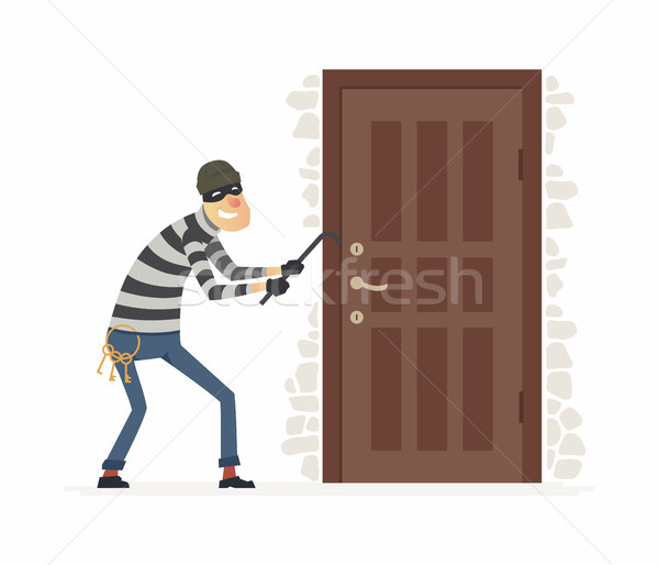 Burglar - cartoon people characters illustration Stock photo © Decorwithme