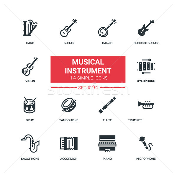 Instruments de musique design style noir solide Photo stock © Decorwithme