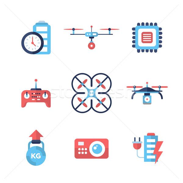 Drones - flat design icons set Stock photo © Decorwithme