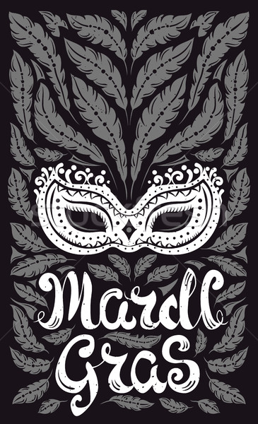 Mardi Gras celebration poster with venetian mask and feathers Stock photo © Decorwithme