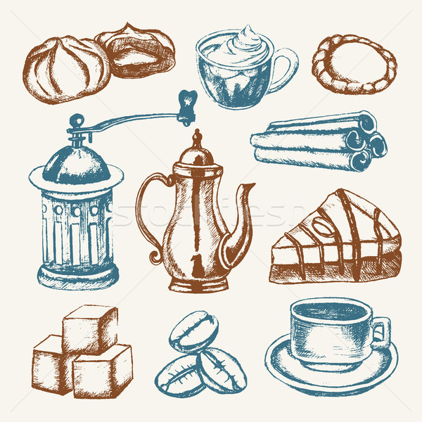 Delicious Coffee - colored hand drawn illustrative composition. Stock photo © Decorwithme