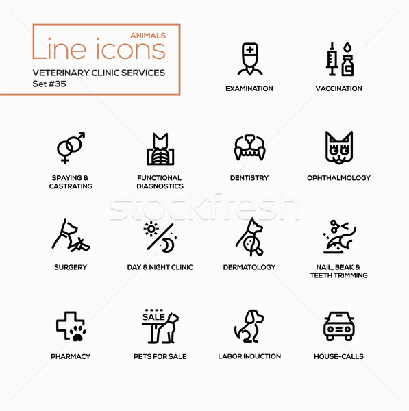 Veterinary clinic services - modern vector single line icons set Stock photo © Decorwithme