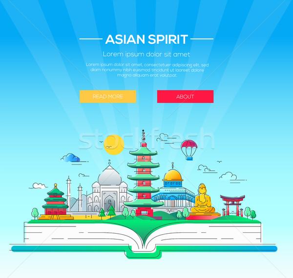 Asian geest vector lijn reizen illustratie Stockfoto © Decorwithme