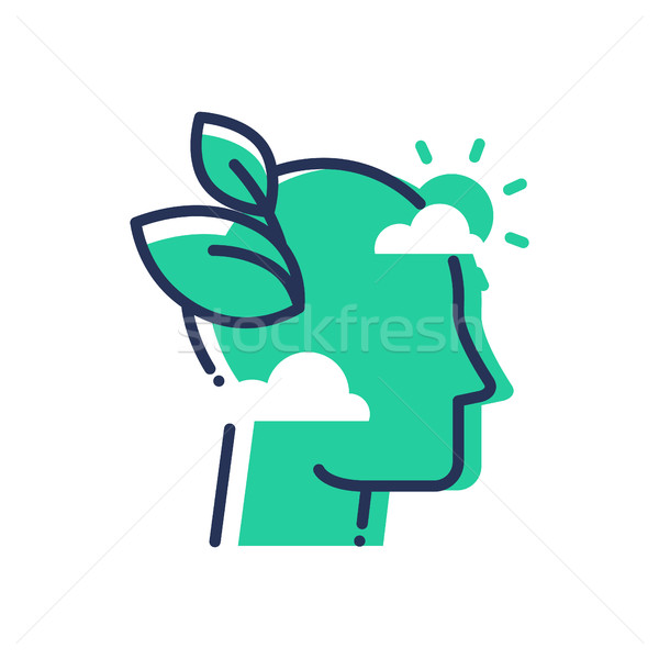 Green Mind - modern vector single line icon Stock photo © Decorwithme
