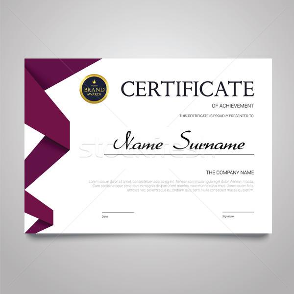 Certificaat sjabloon horizontaal elegante vector document Stockfoto © Decorwithme