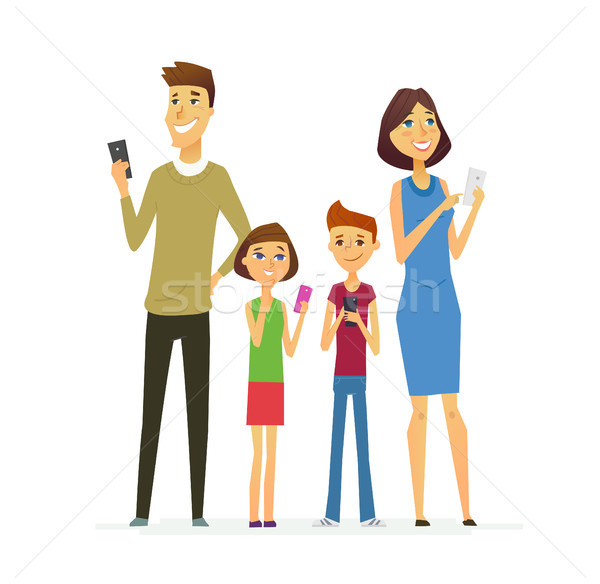 Stock photo: Family - colored modern flat illustrative composition.