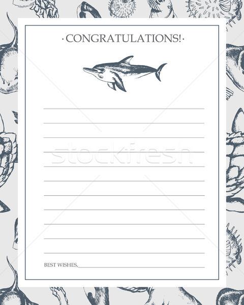 морем Существа рисованной шаблон карт черно белые Сток-фото © Decorwithme