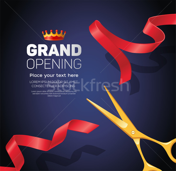 Grand opening template - modern vector illustration on blue background Stock photo © Decorwithme