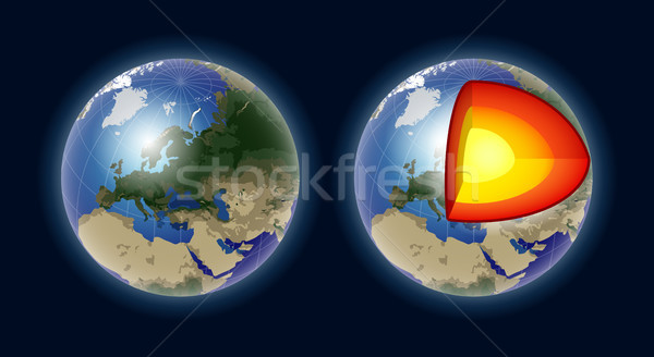 Structure of the Earth core - modern vector realistic isolated illustration Stock photo © Decorwithme