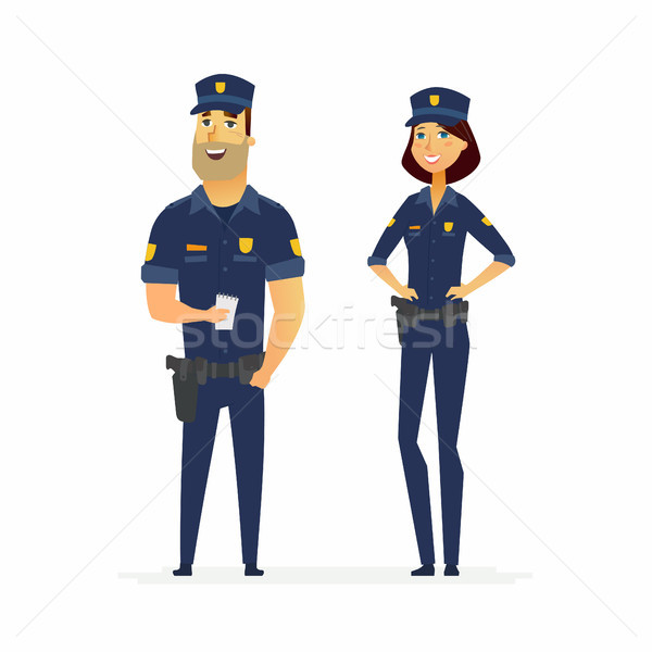 Police officers on duty - cartoon people characters illustration Stock photo © Decorwithme