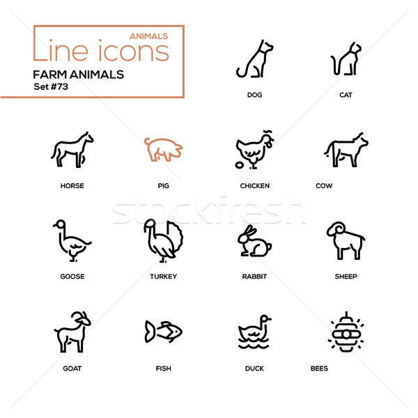Farm animals - line design icons set Stock photo © Decorwithme