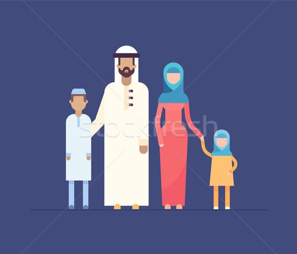 Moslim familie moderne ontwerp stijl illustratie Stockfoto © Decorwithme