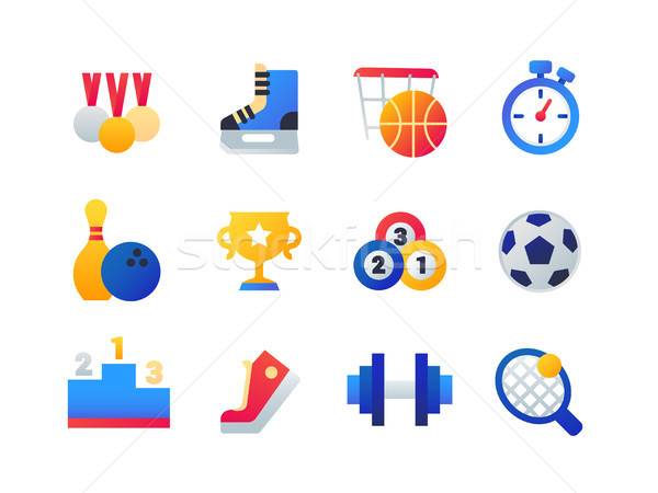 Sport - set of flat design style icons Stock photo © Decorwithme