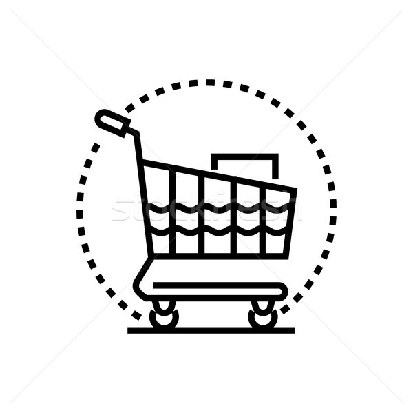 Winkelwagen lijn ontwerp geïsoleerd icon witte Stockfoto © Decorwithme