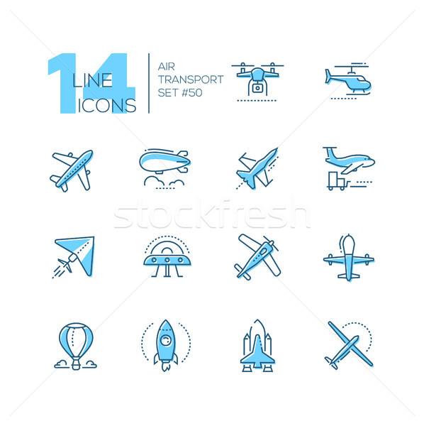 Air transport - thin line design icons set Stock photo © Decorwithme