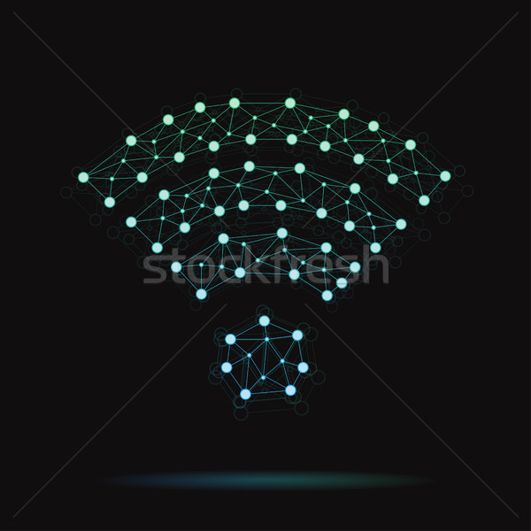 Illustration of modern vector atomic wireless icon Stock photo © Decorwithme