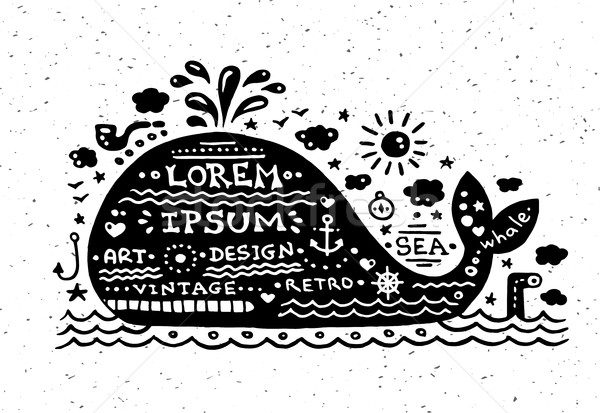Illustration of vintage grunge label with whale Stock photo © Decorwithme