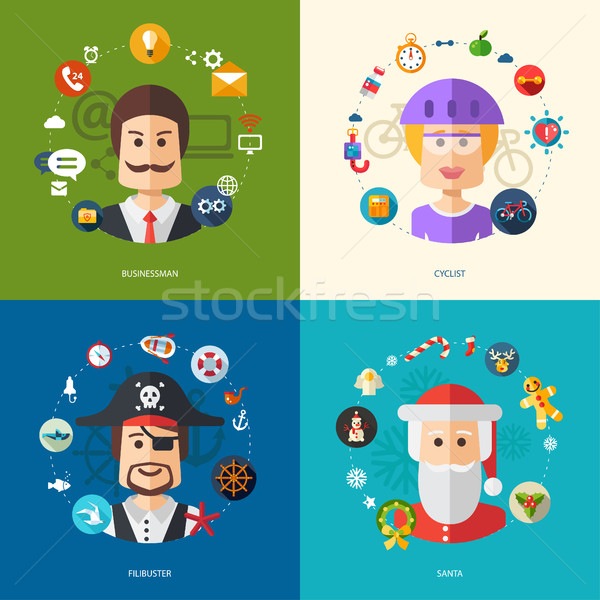 Illustration of flat design business illustrations with people professions Stock photo © Decorwithme