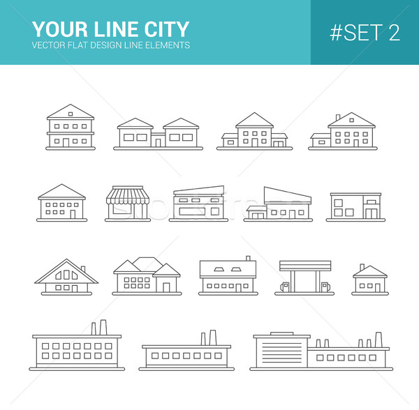 Set of line flat design buildings icons Stock photo © Decorwithme