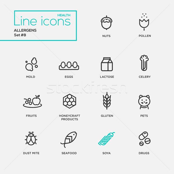 Simple delgado línea diseno iconos pictogramas Foto stock © Decorwithme