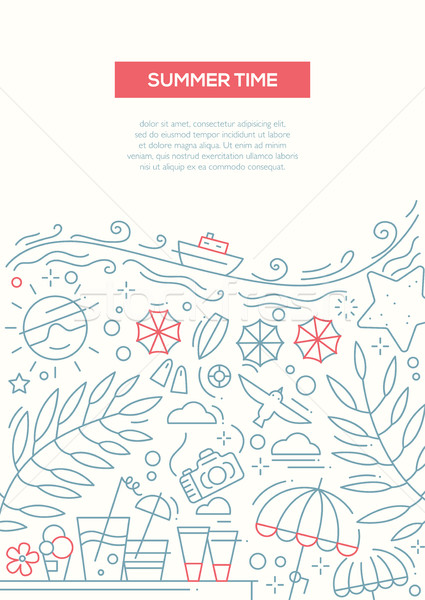 Summer Time - line design brochure poster template A4 Stock photo © Decorwithme