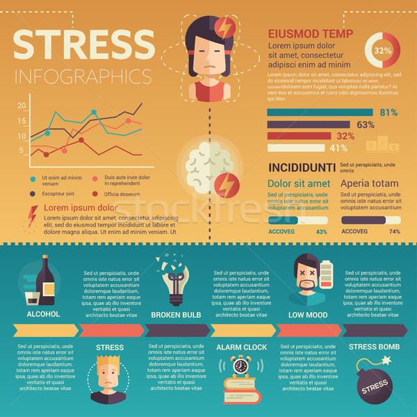 Stres infografiki plakat broszura okładka szablon Zdjęcia stock © Decorwithme