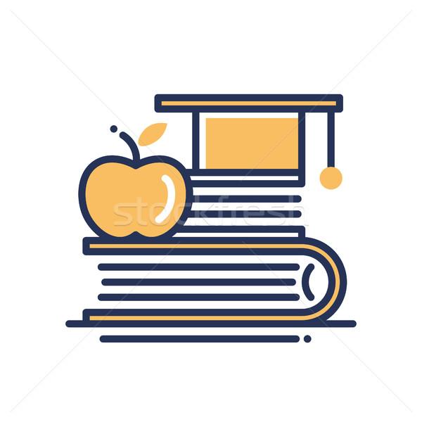 Education - modern vector single line icon Stock photo © Decorwithme