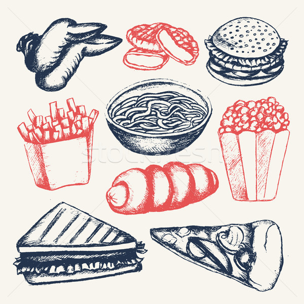 Fast food - illustration of color hand drawn vintage composition Stock photo © Decorwithme